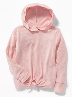 Plush-Knit Tie-Hem Pullover Hoodie for Girls