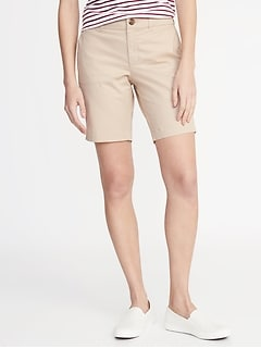 Mid-Rise Twill Everyday Bermuda Shorts for Women - 9-inch inseam