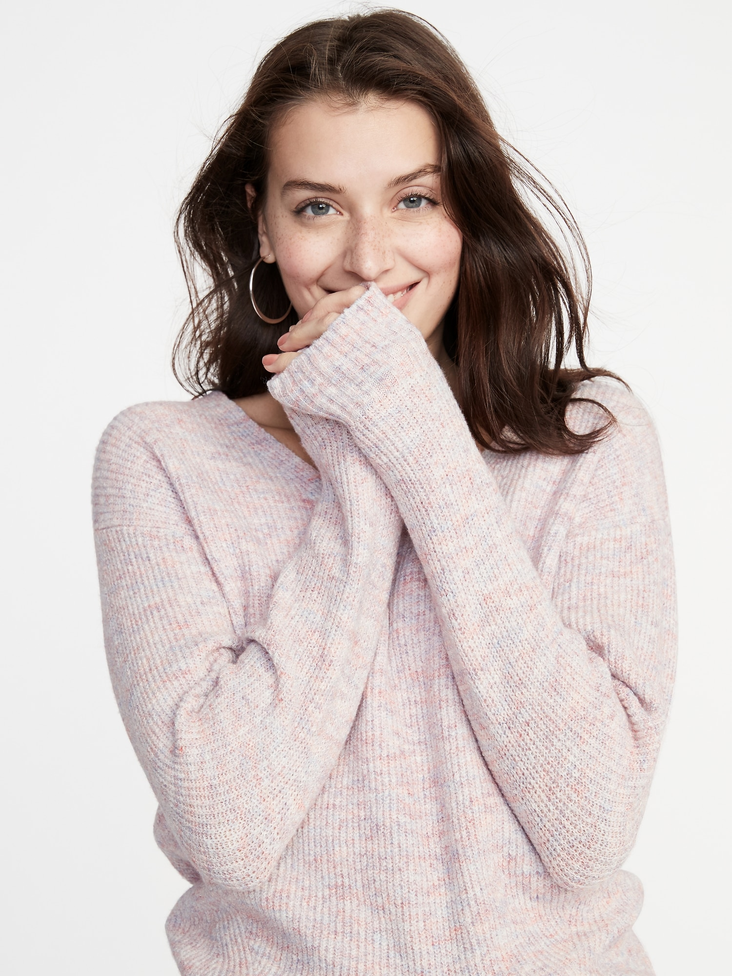 5f4f22a5908f Cozy Marled V-Neck Sweater for Women