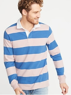 Bold-Stripe Thick-Knit Jersey Rugby for Men