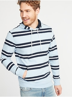 Rugby-Stripe Jersey Pullover Hoodie for Men
