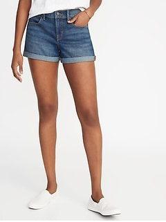 Mid-Rise Cuffed Denim Shorts for Women - 3-inch inseam