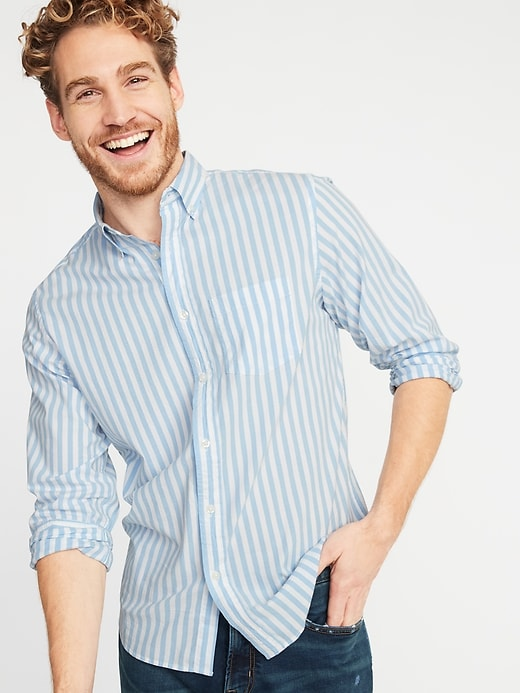 Regular-Fit Built-In Flex Everyday Striped Men's Shirt