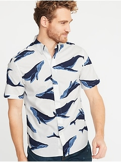 Slim-Fit Built-In Flex Printed Everyday Shirt for Men