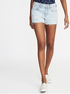 Distressed Boyfriend Denim Cutoffs for Women - 3-inch inseam