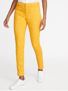 Mid-Rise Daisy-Print Pixie Ankle Pants for Women
