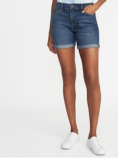 "Slim Denim Midi Shorts for Women (5"")"