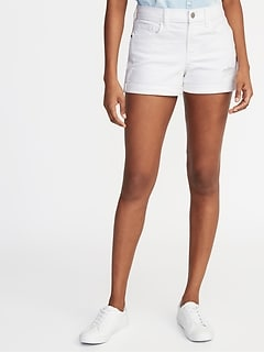Mid-Rise Distressed Boyfriend White Denim Shorts - 3-inch inseam