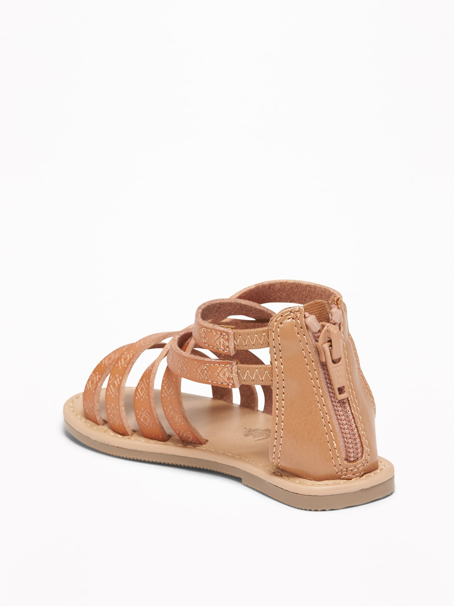 0852fc9308bc Embossed Faux-Leather Gladiator Sandals For Toddler Girls ...