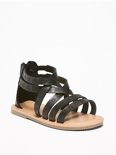 Embossed Faux-Leather Gladiator Sandals For Toddler Girls