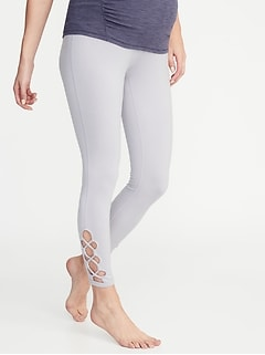 Maternity High-Rise Lattice-Hem 7/8-Length Leggings