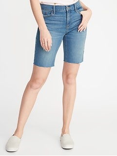 Slim Denim Cut-Off Bermudas for Women - 9-inch inseam