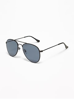 Wire-Frame Aviator Sunglasses for Men