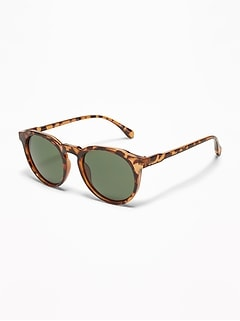 Tortoiseshell Round-Rim Sunglasses for Men