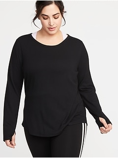 French Terry Surplice-Back Plus-Size Performance Top
