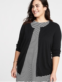 Crew-Neck Button-Front Plus-Size Cardi
