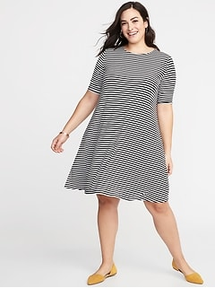 d3d204b16b1af Jersey Elbow-Sleeve Plus-Size Swing Dress