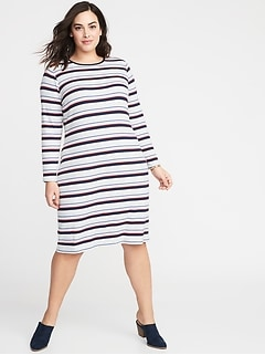 Rib-Knit Plus-Size Shift Dress