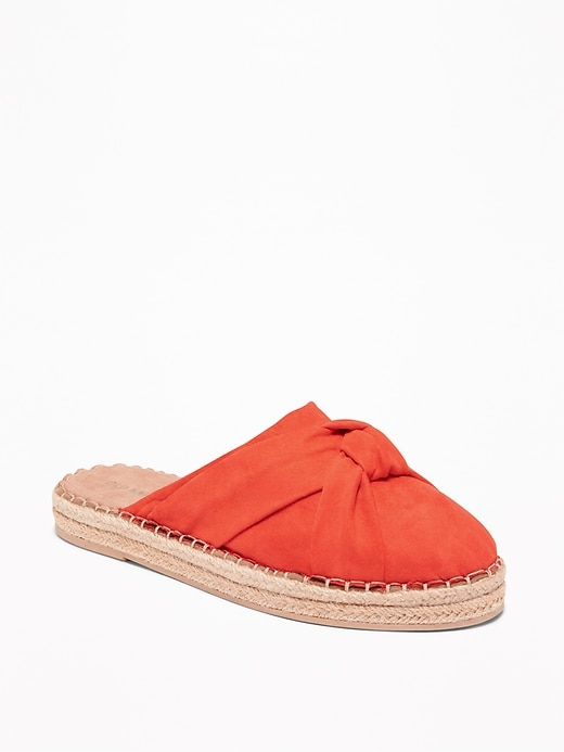 Knotted Faux-Suede Slide Espadrilles for Women