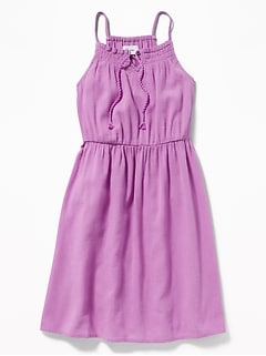 Crinkle-Crepe Fit & Flare Cami Dress for Girls