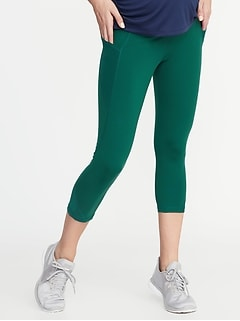 Maternity High-Waisted Mesh-Trim Side-Pocket Compression Crops