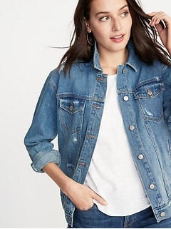 Distressed Boyfriend Jean Jacket For Women