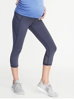 Maternity High-Rise Mesh-Trim Side-Pocket Compression Crops