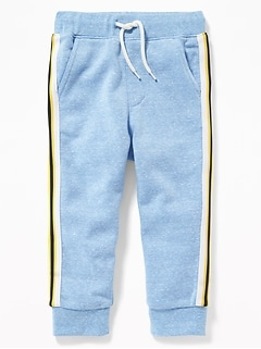 Functional Drawstring Side-Stripe Joggers for Toddler Boys