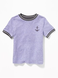 Crew-Neck Ringer Tee for Toddler Boys