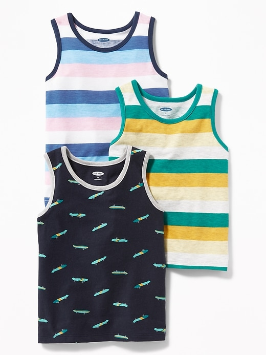 Patterned Tank 3-Pack for Toddler Boys