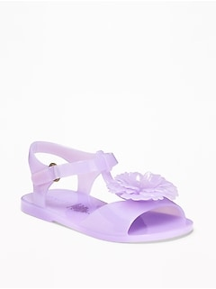 Flower-Applique Jelly Sandals For Toddler Girls