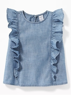 Ruffled Chambray Sleeveless Top for Baby