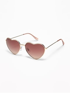 Heart-Shaped Wire-Frame Sunglasses for Women
