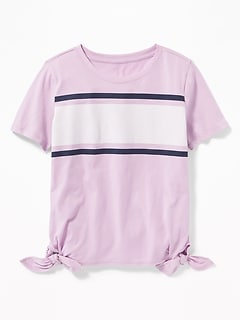 Chest-Stripe Side-Tie Tee for Girls