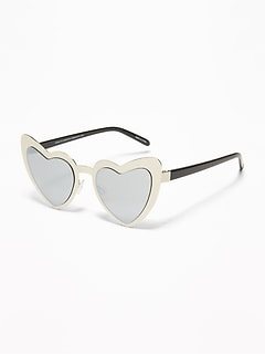 Heart-Shaped Metal Sunglasses for Girls
