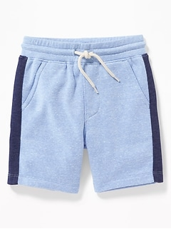 Functional Drawstring Side-Stripe Jogger Shorts for Toddler Boys