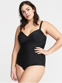 Wrap-Front Secret-Slim Plus-Size Swimsuit