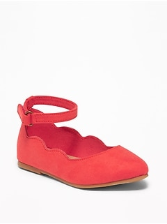 Scalloped Faux-Suede Ballet Flats For Toddler Girls