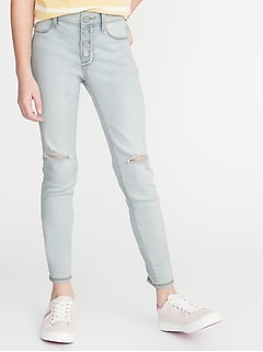 High-Rise Button-Fly Distressed Rockstar Jeggings for Girls