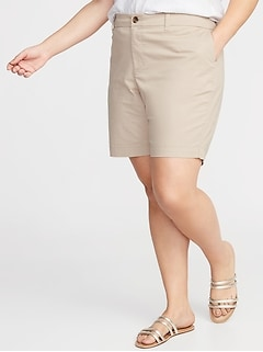 Mid-Rise Everyday Twill Plus-Size Shorts - 9-Inch Inseam