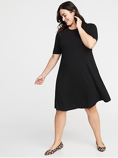 Jersey Elbow-Sleeve Plus-Size Swing Dress