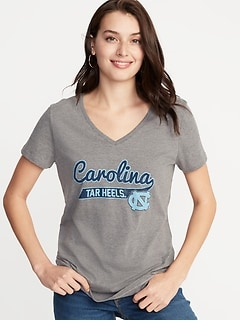 College-Team Graphic V-Neck Tee for Women