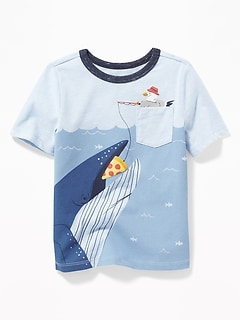 Sea-Creature Pocket Graphic Tee for Toddler Boys