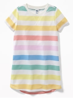 Rainbow-Stripe Jersey Sleep Dress For Toddler Girls & Baby