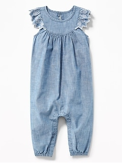 Chambray Embroidered Flutter-Sleeve Jumpsuit for Baby
