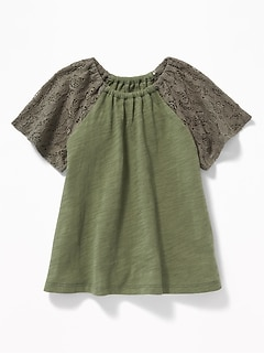 Slub-Knit Lace-Sleeve Top for Toddler Girls