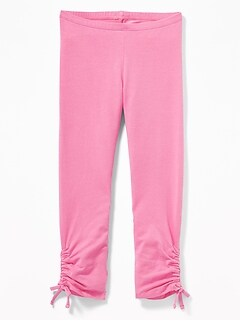 Cropped Side-Ruched Jersey Leggings for Girls