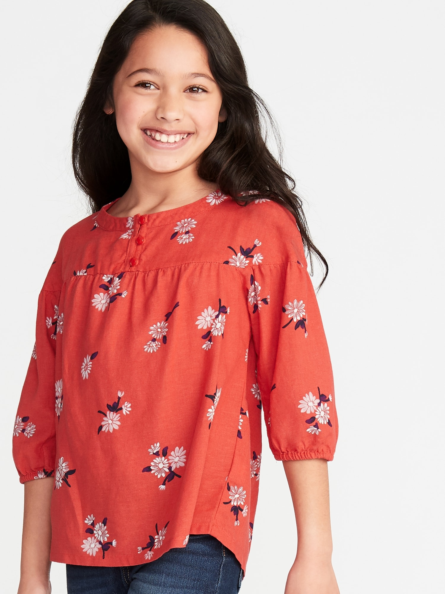 f191e82eee4 Floral-Print 3 4-Sleeve Blouse for Girls