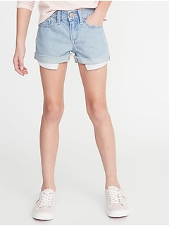 Exposed Pocket-Bag Denim Shorts for Girls