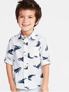 Built-In Flex Whale-Print Roll-Sleeve Shirt for Toddler Boys